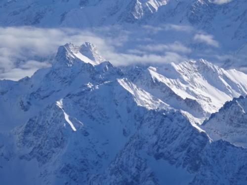 Panorama der Alpen im Heißluftballon